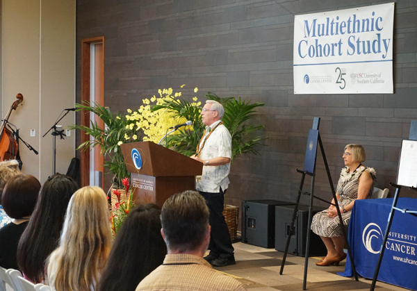 Dr. Laurence N. Kolonel speaking at the 25th anniversary of the Multiethnic Cohort Study at the University of Hawaii Cancer Center